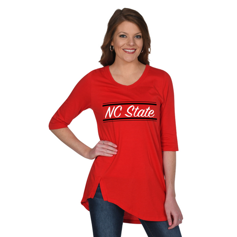 NC State Wolfpack Women's Red Sharkbite Tunic