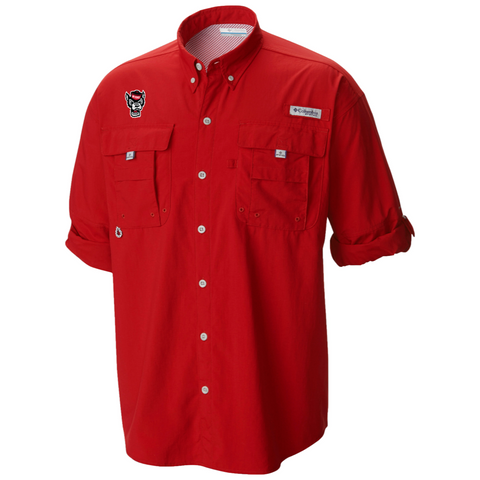 NC State Wolfpack Red Wolfhead Bahama Long Sleeve Button Down Shirt