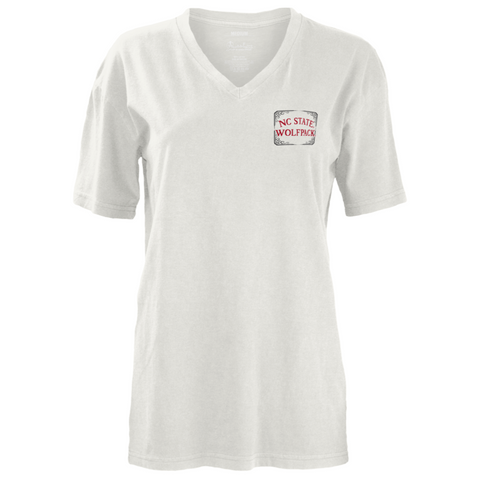 "NC State Wolfpack Women's White ""Time To Tailgate"" V-Neck T-Shirt"