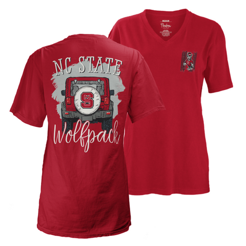 "NC State Wolfpack Women's ""Off Road"" V-Neck T-Shirt"