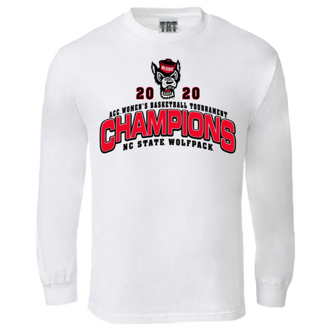 NC State Wolfpack Women's Basketball White 2020 ACC Champions L/S T-Shirt