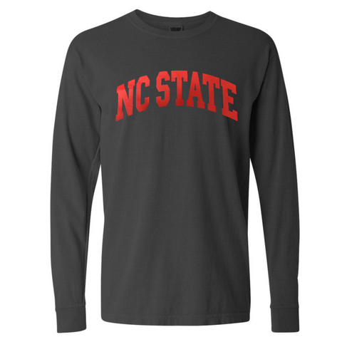 NC State Wolfpack Charcoal NC State Arch Comfort Colors Long Sleeve T-Shirt