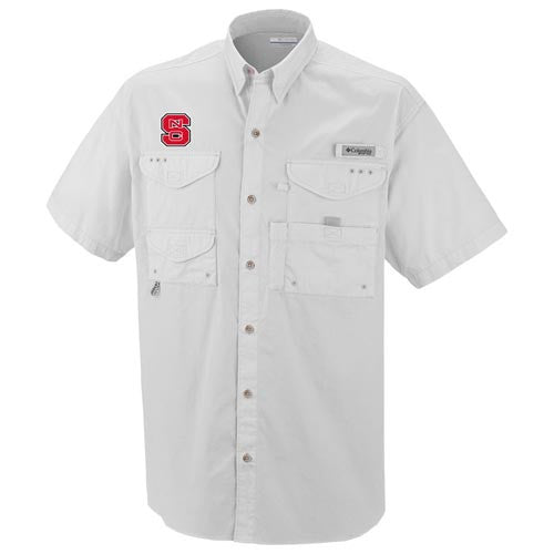 NC State Wolfpack White Columbia Bonehead Button-Up PFG Shirt