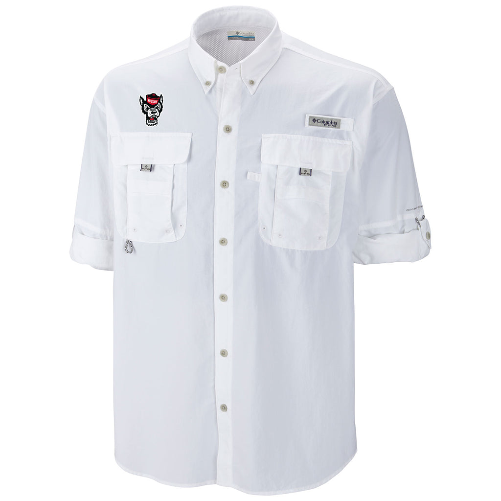 NC State Wolfpack White Wolfhead Bahama Long Sleeve Button Down Shirt