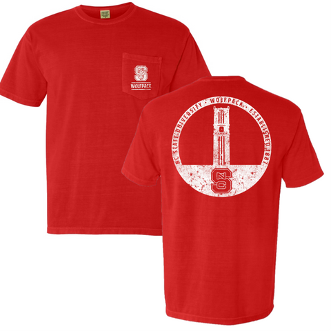 NC State Wolfpack Red Comfort Colors Memorial Bell Tower T-Shirt