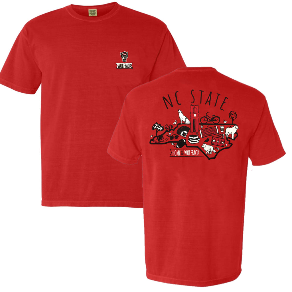 NC State Wolfpack Comfort Colors Red Icons T-Shirt