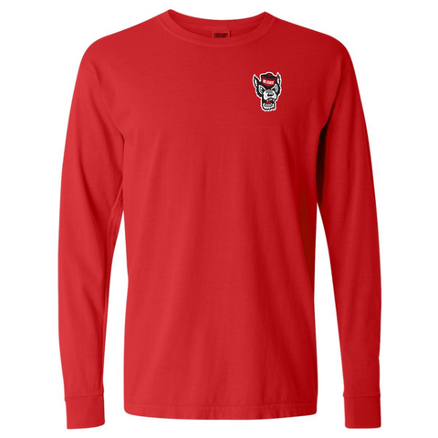 NC State Wolfpack Comfort Colors Red Wolfhead Go Pack Long Sleeve T-Shirt