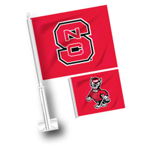 NC State Wolfpack Strutting Wolf/ Block S Double Sided Car Flag