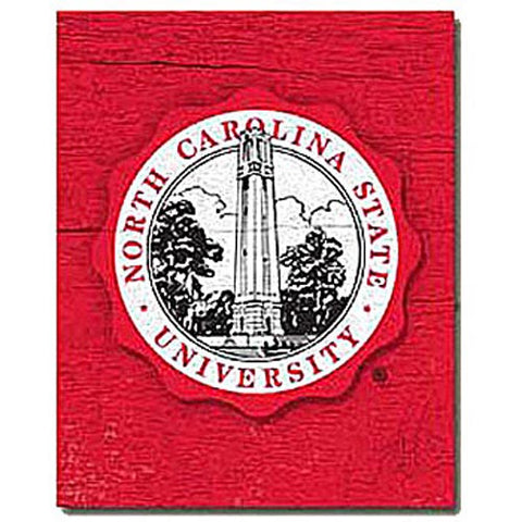 "NC State Wolfpack Red 9.5"" x 12"" Seal Mill Wood Art"