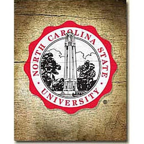"NC State Wolfpack 9.5"" x 12"" Seal Mill Wood Art"