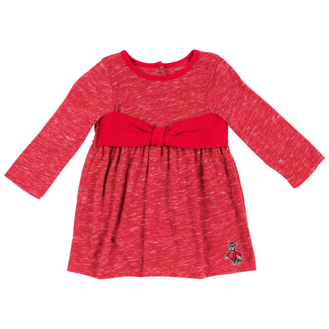 NC State Wolfpack Infant Girls Crail Bow Onesie Dress