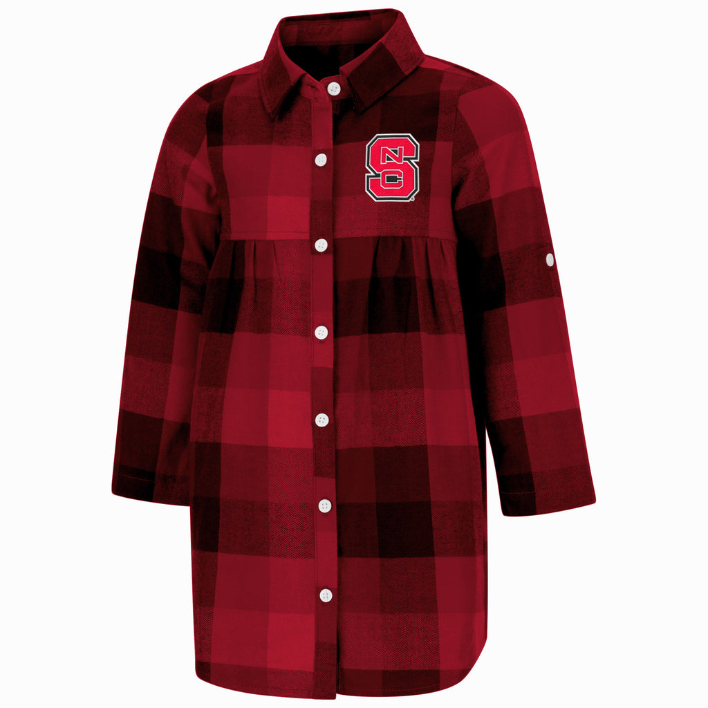 NC State Wolfpack Toddler Girl's Plaid Scooter Dress