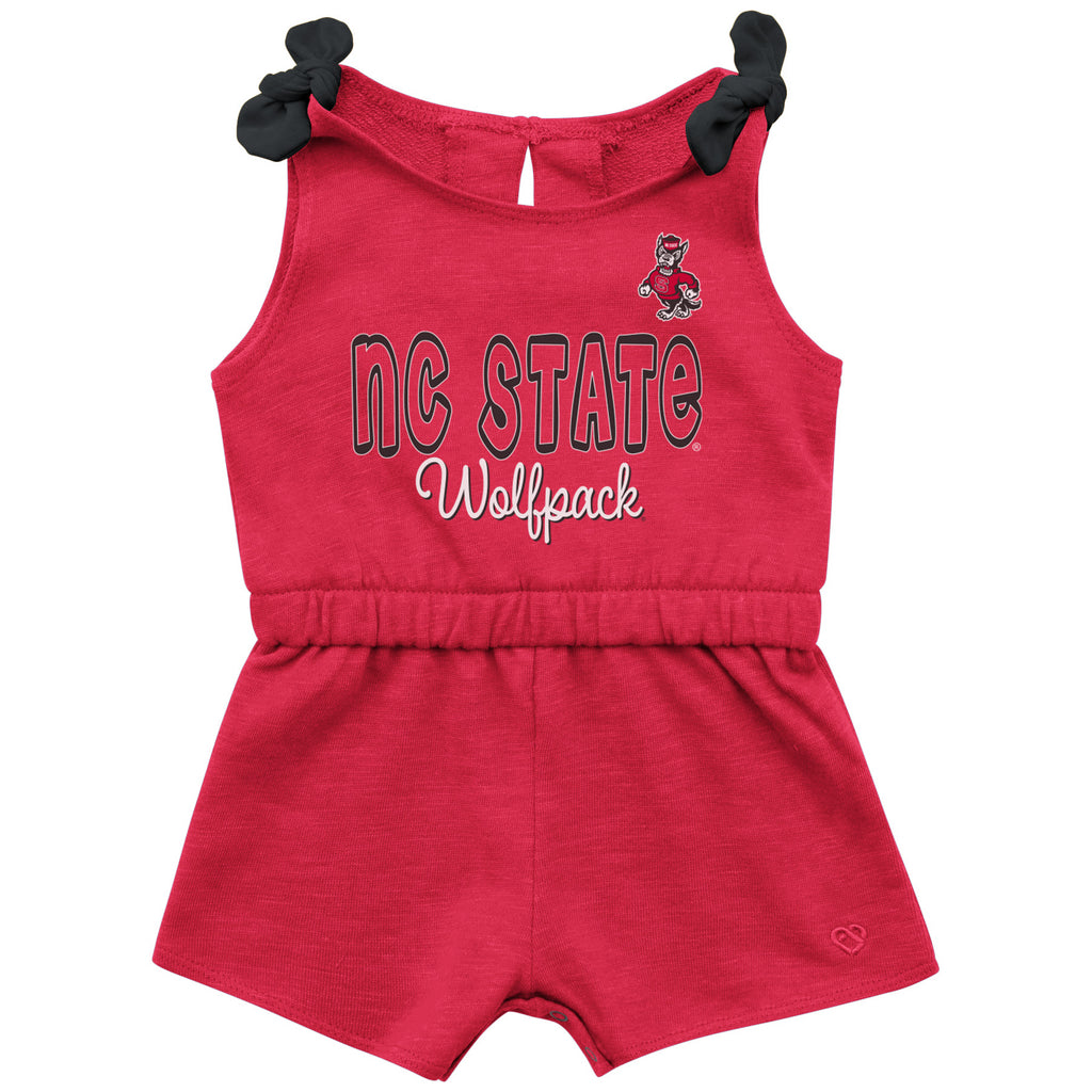 NC State Wolfpack Infant Girl's Red Haparoo Romper