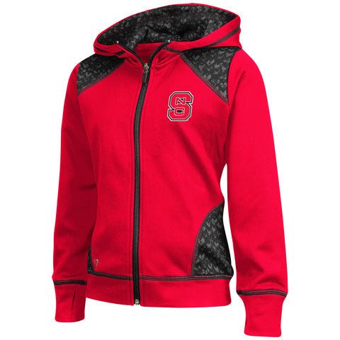 NC State Wolfpack Youth Girls Red Scaled Full Zip Jacket