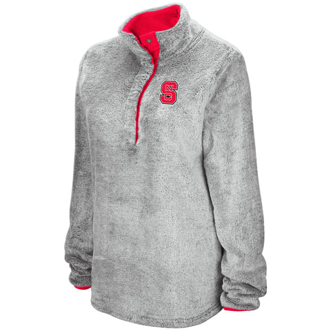 NC State Wolfpack Women's Grey Plush Goldenblatt 1/2 Snap Button Jacket