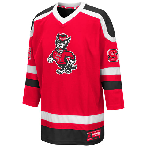 NC State Wolfpack Youth Red Strutting Wolf Mr. Plow Hockey Jersey