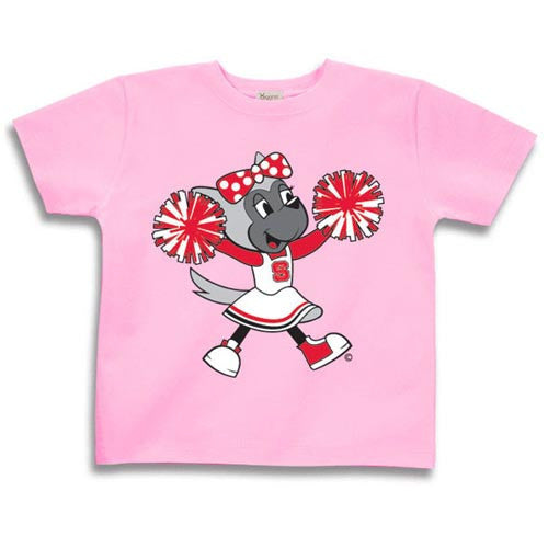 NC State Wolfpack Infant/Toddler Pink Baby Wolf Cheerleader T-Shirt