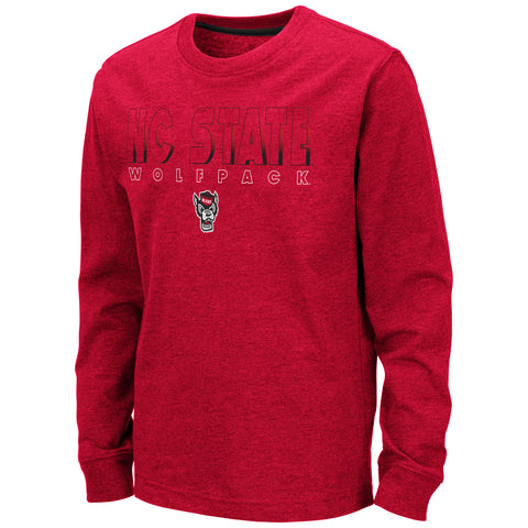 NC State Wolfpack Youth Red Zort Wolfhead Long Sleeve T-Shirt
