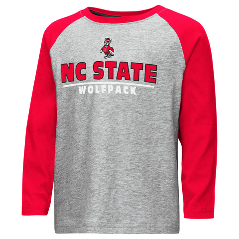 NC State Wolfpack Colosseum Toddler Boy's Toeside Raglan Long Sleeve T-Shirt
