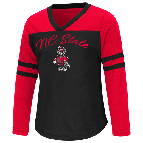 NC State Wolfpack Toddler Girl's Red and Black Bobo Long Sleeve T-Shirt
