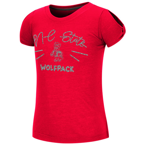 NC State Wolfpack Youth Girl's Red Pebbles T-Shirt