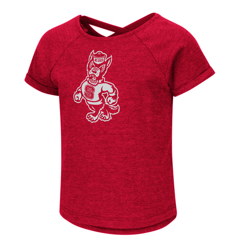 NC State Wolfpack Toddler Girl's Red Dabba Crossback T-Shirt