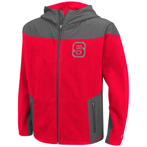NC State Wolfpack Youth Red Corded Fleece Full Zip Jacket