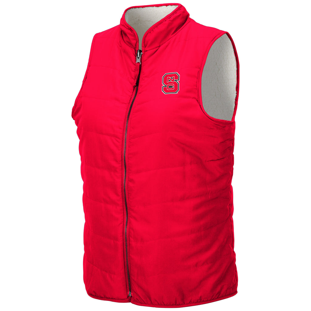 NC State Wolfpack Women's Red and White Block S Blatch Reversible Vest