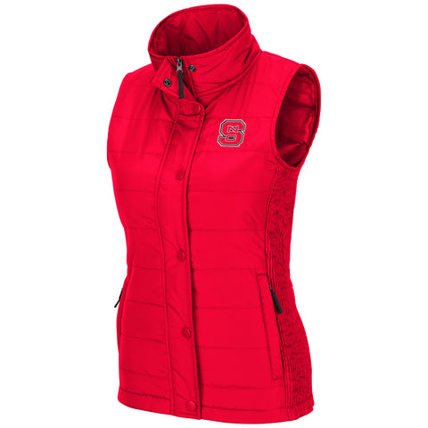 NC State Wolfpack Women's Red Block S Starla Puffer Vest