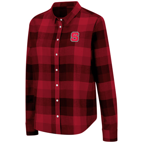 NC State Wolfpack Women's Lucille Plaid Button Up Shirt