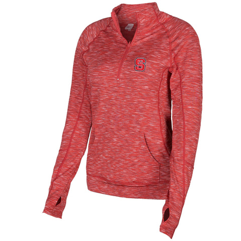 NC State Wolfpack Women's Heathered Red Touchdown 1/4 Zip Jacket