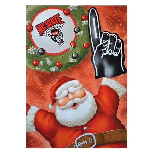 NC State Wolfpack 12-Pack Santa Foam Finger Design Christmas Cards