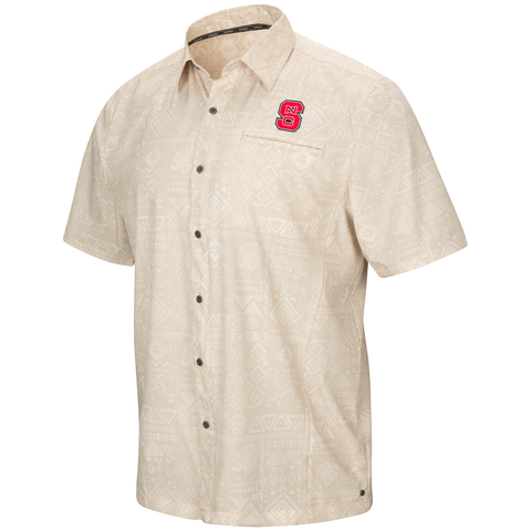 NC State Wolfpack Men\u0027s Light Khaki Larry Camp Shirt