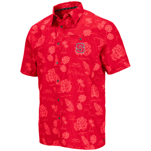NC State Wolfpack Red Honolulu Camp Shirt