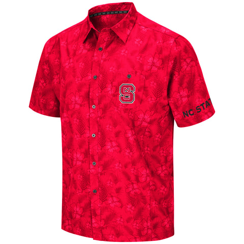 NC State Wolfpack Men's Red Molokai Camp Shirt