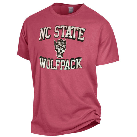 NC State Wolfpack Comfort Wash Crimson Arched NC State Over Wolfhead T-Shirt