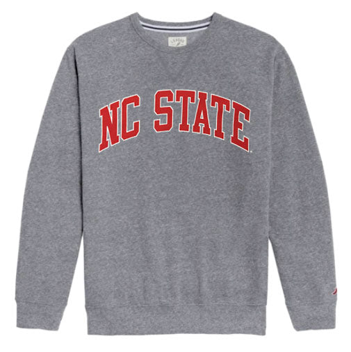 NC State Wolfpack Heather Grey Arched NC State Crewneck Sweatshirt