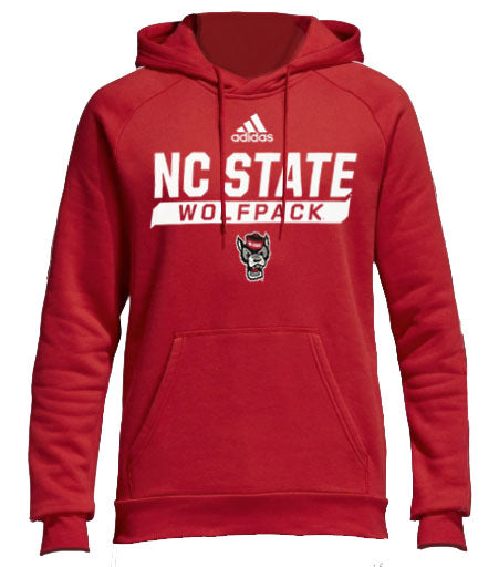NC State Wolfpack Adidas Red Wolfhead Climalite Hooded Sweatshirt