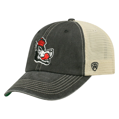 NC State Wolfpack TOW Black Slobbering Wolf Dirty Mesh Adjustable Hat