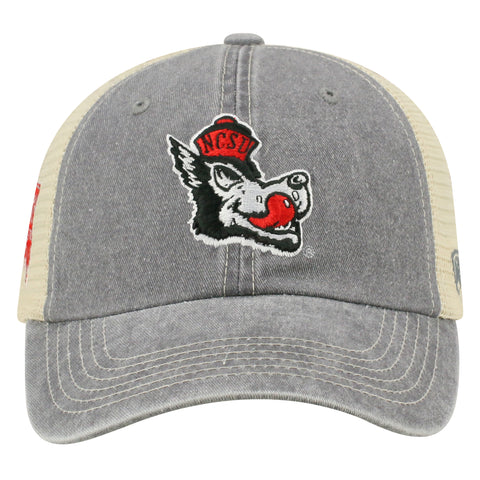 NC State Wolfpack TOW Slate Slobbering Wolf Dirty Mesh Adjustable Hat