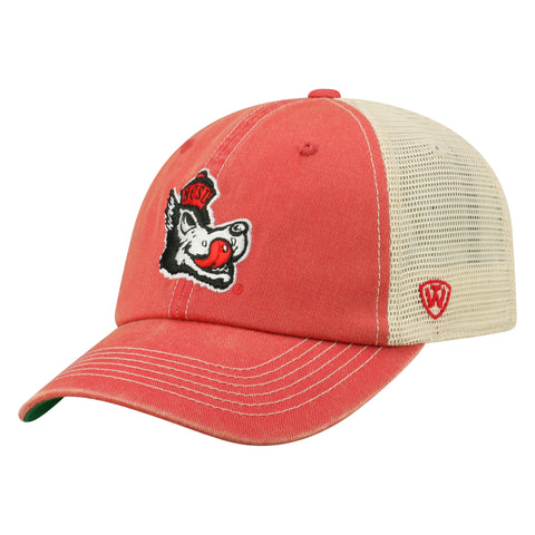 NC State Wolfpack TOW Red Slobbering Wolf Dirty Mesh Adjustable Hat