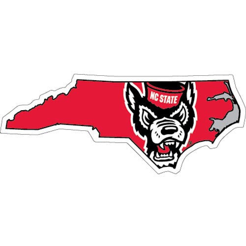 Nc State Wolfpack State Outline Wolfhead Decal Red And