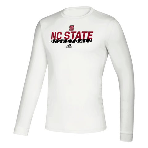 NC State Wolfpack Adidas White Basketball Creator Long Sleeve T-Shirt