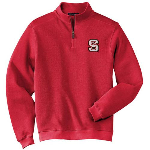 NC State Wolfpack Men's Red Flatback Rib 1/4-Zip Pullover