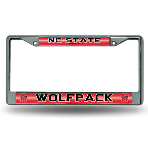 NC State Wolfpack Red Bling Chrome License Plate Frame