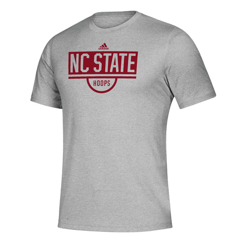 NC State Wolfpack Adidas Grey Hoops Creator T-Shirt