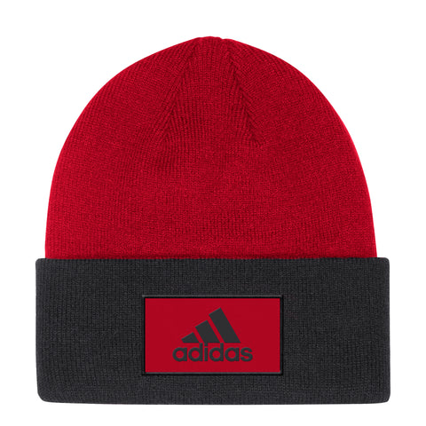 NC State Wolfpack Adidas Red and Black Wolfhead Coaches Sideline Cuffed Beanie