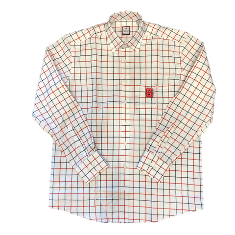 NC State Wolfpack Fredrick Martin White w/ Black and Red Check Block S Dress Shirt
