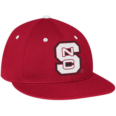 "NC State Wolfpack adidas® Red Mesh ""On-Field"" Baseball Performance Fitted Flatbill Hat"