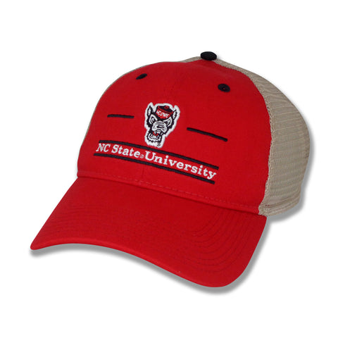 NC State Wolfpack The Game Red Wolfhead Split Bar Design Hat